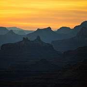 Beauty In Nature Prints - Orange Sunset Twilight over Silhouetted Spires in Grand Canyon National Park Square Print by Shawn OBrien