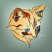 Kitty Digital Art - Orange Tabby Kitten by MM Anderson
