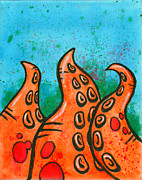 Tentacles Paintings - Orange Tentacles over Blue by Sam Evil