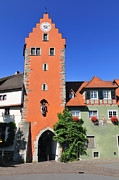 Vibrant Colors Framed Prints - Orange tower and blue sky - City gate in Meersburg Germany Framed Print by Matthias Hauser