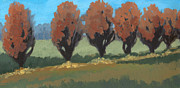 Landscape. Mountain Trees Water Bush Art - Orange Trees by Marco Sivieri