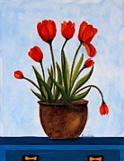 Orange Tulips On A Blue Buffet Print by Barbara Griffin