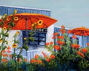 Tables Pastels Posters - Orange Umbrellas Poster by Candy Mayer