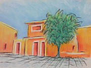 Adobe Buildings Pastels Posters - Orange Village Poster by Marcia Meade