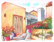 No People Painting Framed Prints - Orange wall and bougainvilleas in Venice - California Framed Print by Carlos G Groppa