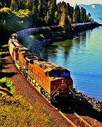 Burlington Northern Prints - Orange Workhorse Print by Benjamin Yeager