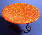 Handcrafted Glass Art - Orange Yellow and White Murrini Bowl with Stand by P Russell