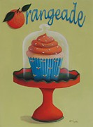 Folk Art Paintings - Orangeade Cupcake by Catherine Holman