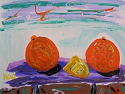Oranges Drawings - Oranges and Cheese by Mary Carol Williams