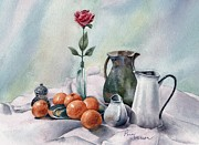 Pitchers Painting Metal Prints - Oranges And Pitchers Metal Print by Penny Johnson