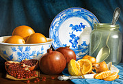 Porcelain Paintings - Oranges and Pomegranates by Horacio Cardozo