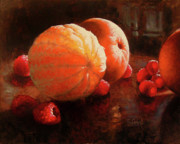 Table Top Framed Prints - Oranges and Raspberries Framed Print by Timothy Jones