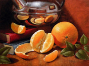 Teapot Paintings - Oranges and Teapot by Timothy Jones