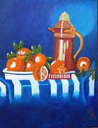 Pouring Paintings - Oranges Are Good For You by Margaret Harmon