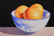 Watercolor Paintings - Oranges in Blue Bowl by Jean Yates