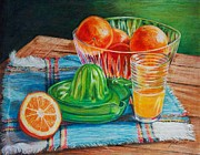 Produce Drawings Prints - Oranges Print by Joy Nichols
