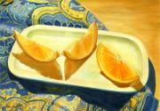 Joan A Hamilton Metal Prints - Oranges on Blue Paisley Metal Print by Joan A Hamilton