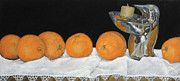 Table Cloth Pastels Metal Prints - Oranges Three Metal Print by Flo Hayes
