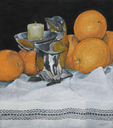 Table Cloth Pastels Metal Prints - Oranges Two Metal Print by Flo Hayes
