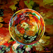 Fall Colors Digital Art Prints - Orb of Forever Autumn Print by Robin Moline