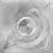 Grey Digital Art Prints - Orbit monochrome Print by Scott Norris