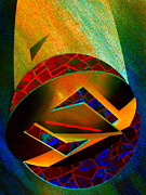 Steel Sculpture Framed Prints - Orbiting Circle Spinning Square Framed Print by Randall Weidner
