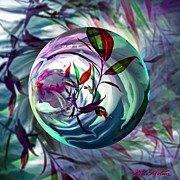 Mint Digital Art - Orbiting Cranberry Dreams by Robin Moline