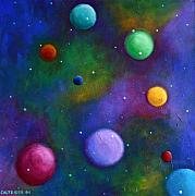 Abstract Realism Paintings - Orbs in Space by Alison Caltrider