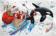 Whale Painting Framed Prints - ORCA Santa Framed Print by James Williamson