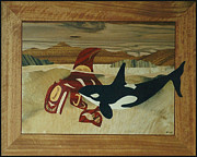 Intarsia Sculpture Framed Prints - Orca Spirit Framed Print by Jeff Adshead