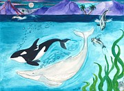 Otter Paintings - Orca Whales Dolphins Moon Cathy Peek Art by Cathy Peek