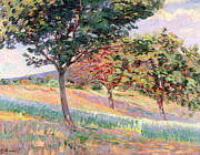 Impressionistic Landscape Painting Framed Prints - Orchard at St Cheron Framed Print by Jean Baptiste Armand Guillaumin
