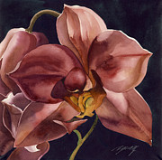 Faa Painting Prints - Orchid In Red  Print by Alfred Ng