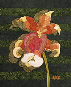 Fabric Collage Tapestries Textiles Prints - Orchids #1 Print by Lynda K Boardman