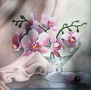 Glass Table Reflection Painting Prints - Orchids Print by Vesna Martinjak