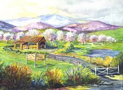 Farm Stand Drawings Prints - Order Your Pies Early  Print by Carol Wisniewski