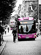 Color Purple Framed Prints - Orebro City Buses Framed Print by Jimmy Karlsson