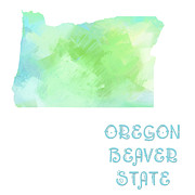 Beaver Digital Art - Oregon - Beaver State - Map - State Phrase - Geology by Andee Photography