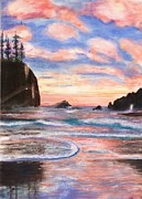 Oregon Pastels Prints - Oregon Coast Print by Cindy Morgan