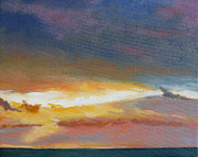 Beach Sunset Paintings - Oregon Coast Sunset by Melody Cleary