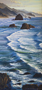 Sea Shore Prints Painting Originals - Oregon Coastline by Jeanette French