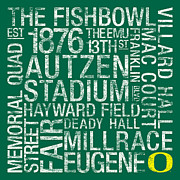 Hayward Posters - Oregon College Colors Subway Art Poster by Replay Photos
