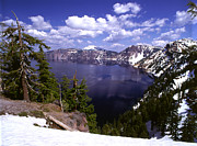 Snow Capped Metal Prints - Oregon Crater Lake  Metal Print by Anonymous
