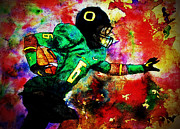 Michael Cross Framed Prints - Oregon Football 3 Framed Print by Michael Cross