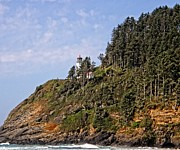 Head Pyrography Framed Prints - Oregon - Heceta Head Lighthouse Framed Print by Image Takers Photography LLC