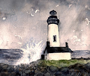 Sun Rays Paintings - Oregon Light House by Susan Swain
