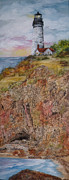 Hidden Objects Paintings - Oregon Lighthouse with over 200 Hide and Seek Marine Life Objects by Meldra Driscoll