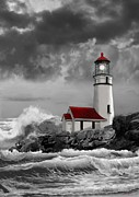 Architectural Structure Framed Prints - Oregon Lighthouse with stormy sea in black whiteand red Framed Print by Gina Femrite