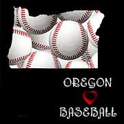 Abstract Map Posters - Oregon Loves Baseball Poster by Andee Photography