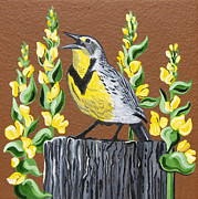 Meadowlark Paintings - Oregon Meadowlark by Jennifer Lake